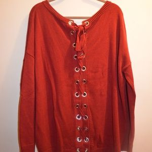 Express Red Lace Up Back Tunic Sweater